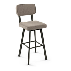 custom stool, metal, iron, steel, fabric, leather, distressed wood, solid birch, traditional, modern, urban, rustic, bar, pub, counter, island, kitchen, amiss, made in canada, brixton swivel stool