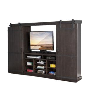 Barn Door Wall Cabinet Charcoal, solid wood, rustic, industrial, modern, HDTV, display, storage, barn door track,