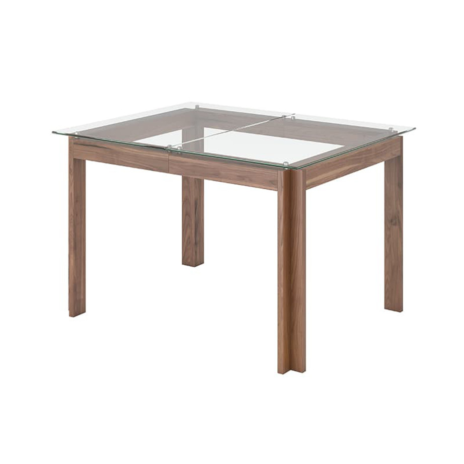 Cita Table no leaf, Dining Room, Leg Tables, birch, contemporary, made in canada, mid century, modern, solid wood, walnut, Modern, unique, several sizes, dining room ideas, VerBois, simple, raw, Cita Table, simple, extension table, Glass top, wood leaf,