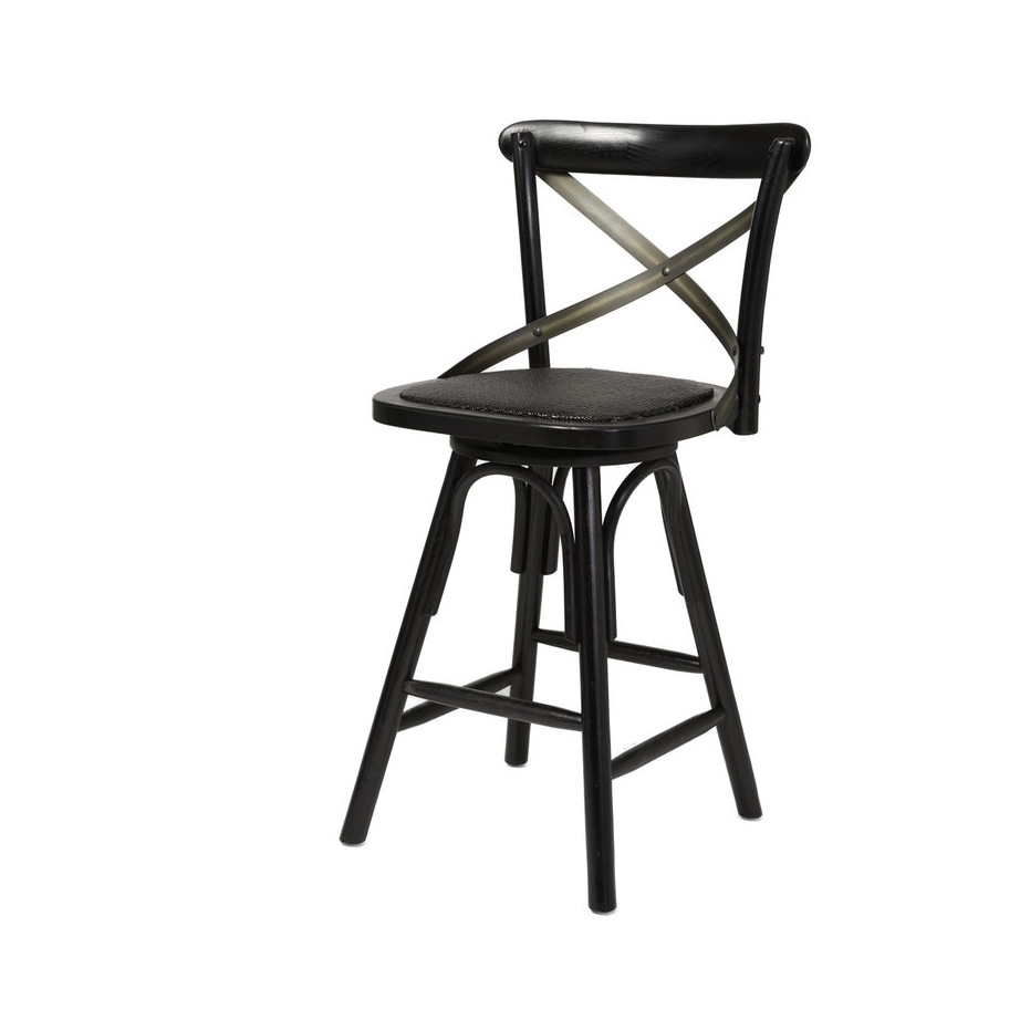 Cross Back Rustic Stool Home Envy Furnishings Solid