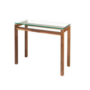 made in canada walnut wood modern cubik sofa table with glass top