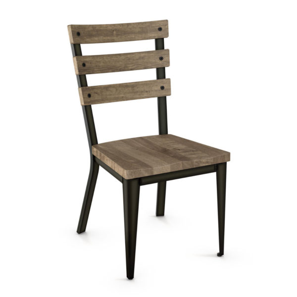 Dining Room, amisco, chair, contemporary, custom chair, customizable, fabric, made in canada, metal, rustic wood, seating, urban, custom made, modern, distressed wood, iron, fabric, solid birch, Dexter Chair