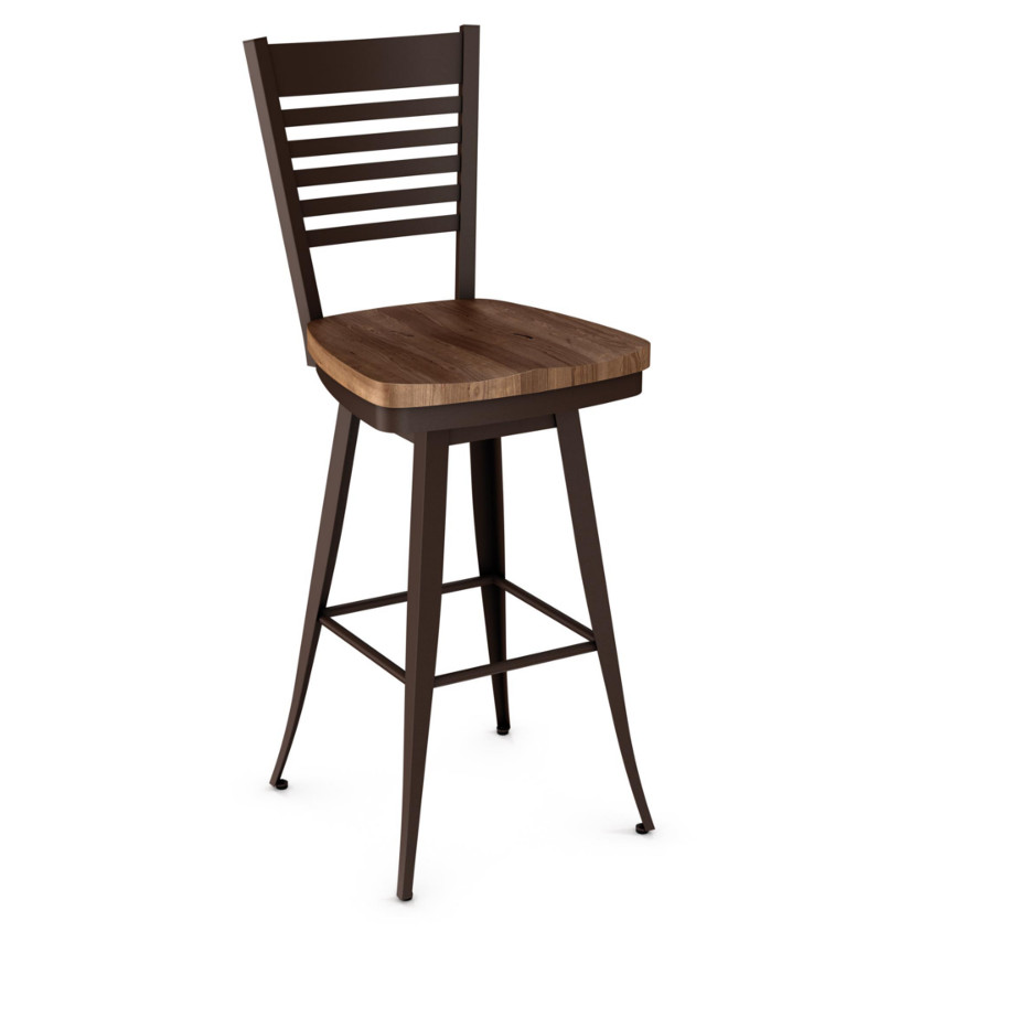 rustic solid wood edwin counter stool with swivel