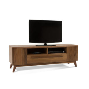 modern walnut wood canadian made eos tv console with storage
