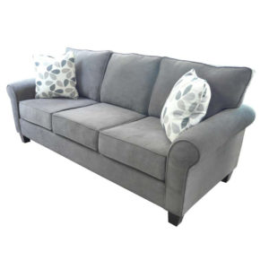 elite sofa, love seat, custom sofa, made in canada, custom sofa, fabric, modern, traditional, flip sofa, rolled arm, grey
