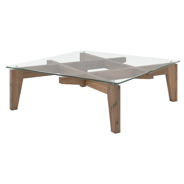 Occasional, End Table, Accents, Accent Furniture, birch, contemporary, made in canada, mid century, modern, solid wood, walnut, living room ideas, unique, modern, verbois, custom stain, simple, Living Room, coffee table, glass, glass shelf, Hashtag, HTag Coffee Table