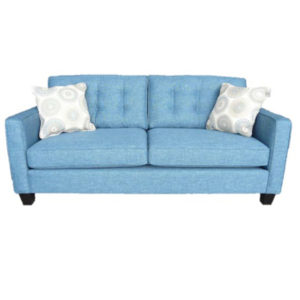 elite sofa, love seat, custom sofa, made in canada, custom sofa, fabric, modern, traditional, lincoln sofa, sectional, tufted back, stitching, blue, track arm