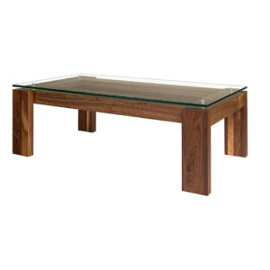 Occasional, End Table, Accents, Accent Furniture, birch, contemporary, made in canada, mid century, modern, solid wood, walnut, living room ideas, unique, modern, verbois, custom stain, simple, Living Room, coffee table, glass, glass shelf, rectangle, square, MPD Coffee Table