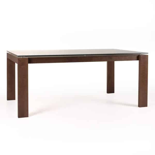 made in canada mpd glass top dining table with solid wood frame