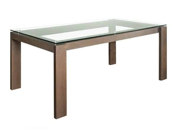 modern solid wood frame mpd glass top dining table