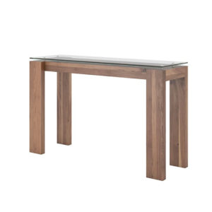 canadian made with walnut wood frame and glass top mpd console table