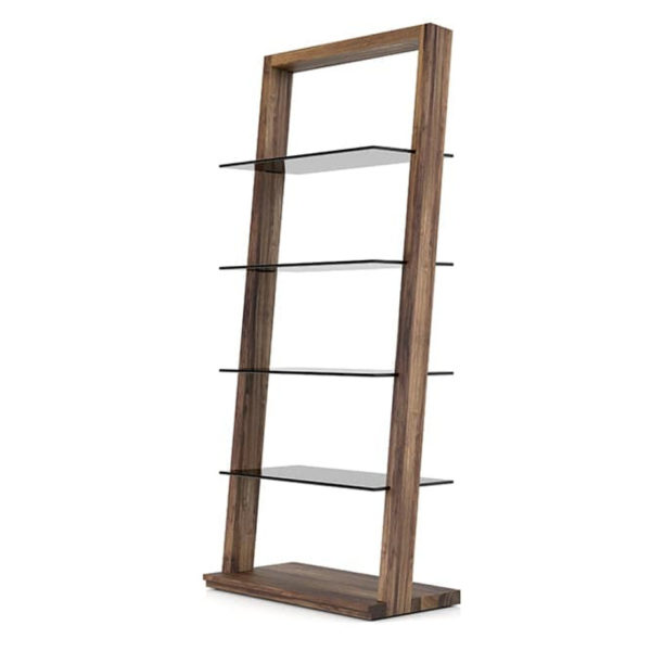 modern walnut wood on the miami custom bookcase with glass shelves