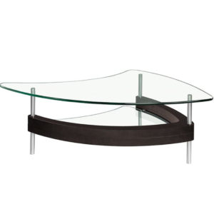 Occasional, End Table, Accents, Accent Furniture, birch, contemporary, made in canada, mid century, modern, solid wood, walnut, living room ideas, unique, modern, verbois, custom stain, simple, Living Room, coffee table, glass, glass shelf, Unique Curved Shape, Chrome Legs, Miami Coffee Table