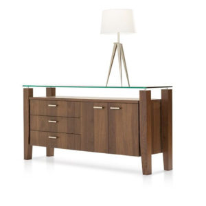 modern wood mika buffet with drawers and glass top