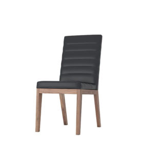 modern solid wood frame moto dining chair in custom leather
