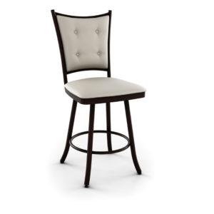 custom stool, metal, iron, steel, fabric, leather, distressed wood, solid birch, traditional, modern, urban, rustic, bar, pub, counter, island, kitchen, amiss, made in canada, paula swivel stool