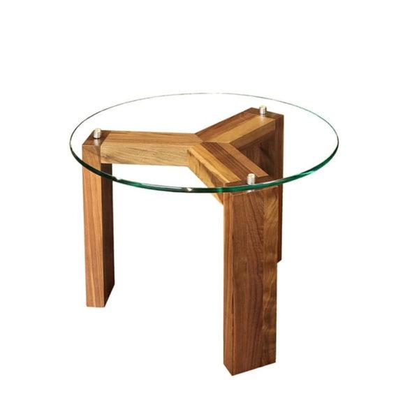 modern round prague glass top end table