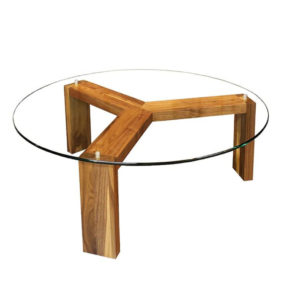 modern wood base round prague coffee table