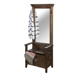 Savannah Hall Bench, entry bench, storage bench, mirror, rustic, urban, modern, solid wood, traditional