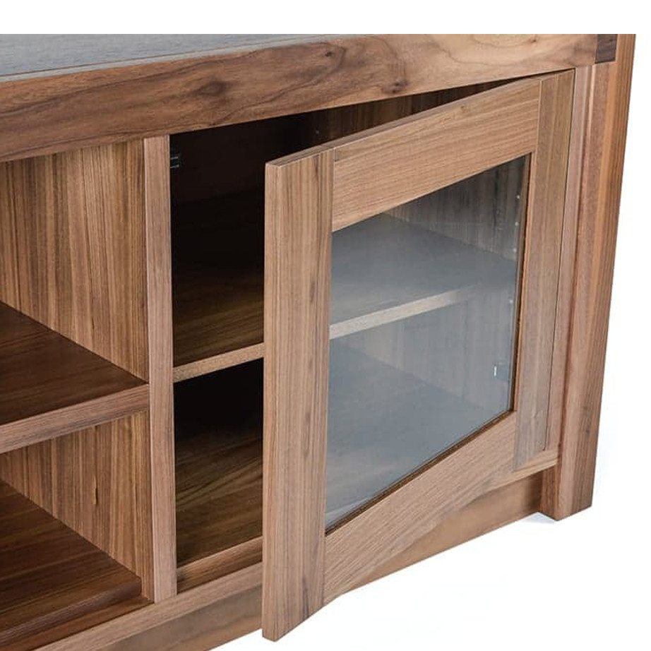 Sim TV Console, Entertainment, TV Consoles, birch, console, contemporary, HDTV, made in canada, media stand, mid-century, modern, solid wood, walnut, living room furniture ideas, VerBois, solid wood furniture, custom made, Sim TV Console Detail A