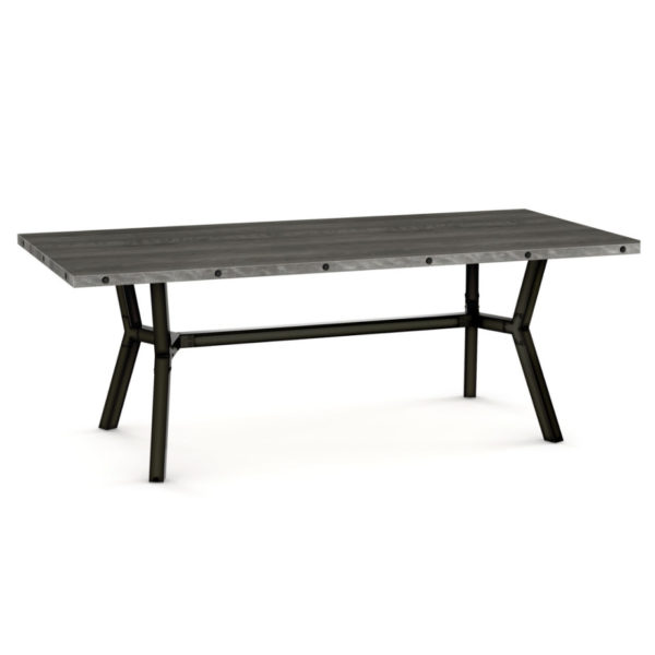 solid rustic wood with metal base southcross dining tablke