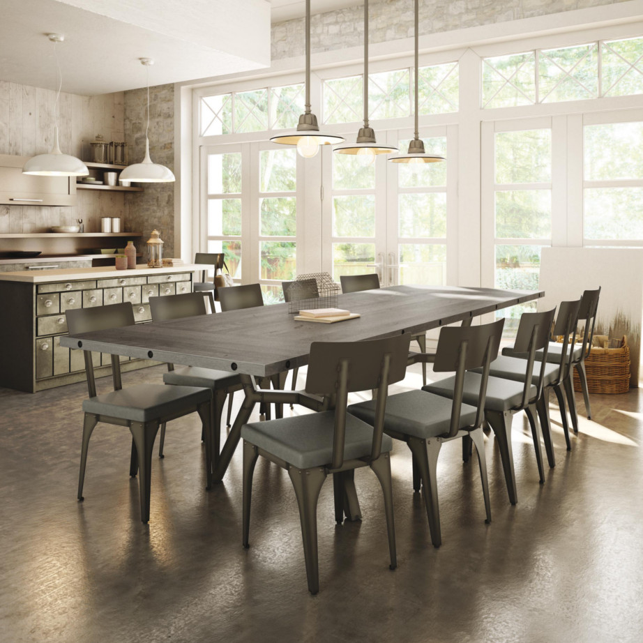 Trestle, Tables, amisco, contemporary, customizable, extension table, glass, leaf, made in canada, metal, round square, rustic wood, metal, birch, modern, urban, rustic, distressed, iron, steel, Southcross Table, Southcross Table Room