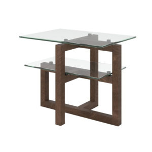 Occasional, End Table, birch, contemporary, glass, made in canada, mid century, modern, rustic walnut, solid wood, walnut, living room ideas, unique, modern, verbois, custom stain, Tekno End Table, Glass shelf's