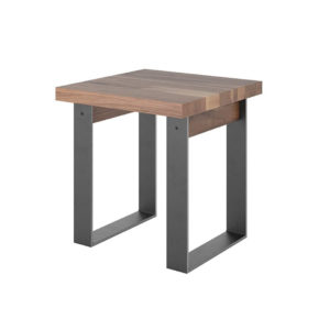 Occasional, End Table, birch, contemporary, made in canada, metal, metal accents, mid century, modern, rustic walnut, solid wood, walnut, living room ideas, unique, modern, verbois, raw metal, custom stain, Thor End Table,