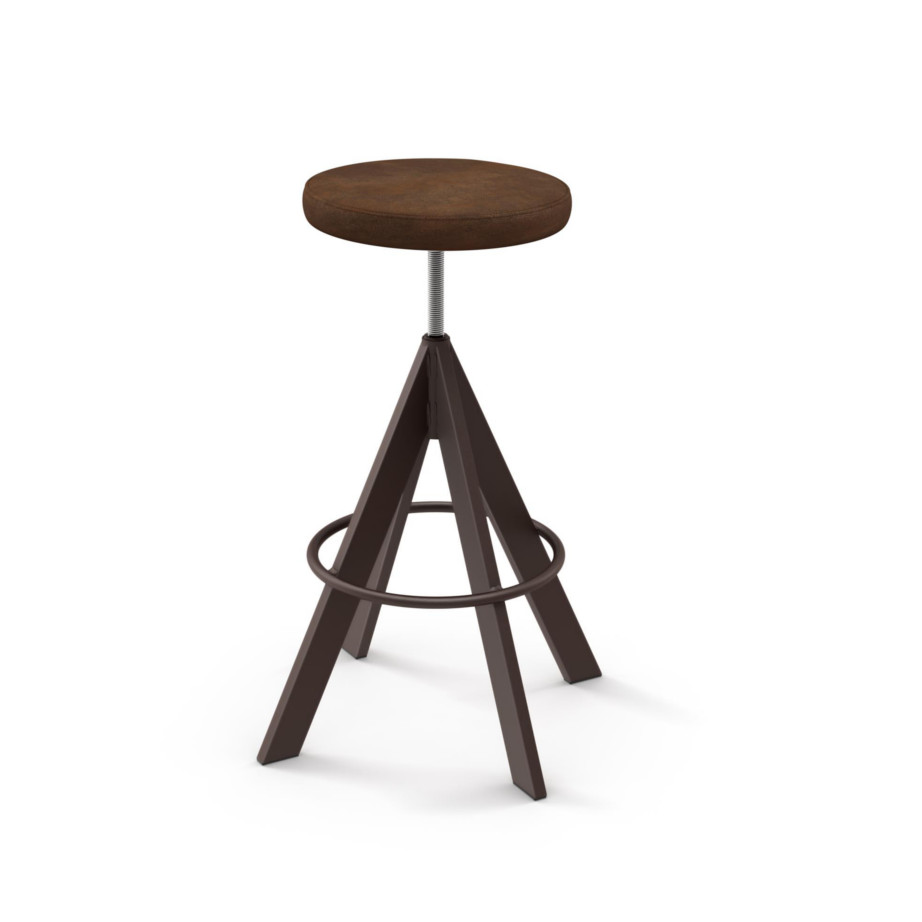 custom stool, metal, iron, steel, fabric, leather, distressed wood, solid birch, traditional, modern, urban, rustic, bar, pub, counter, island, kitchen, amiss, made in canada, uplift backless stool