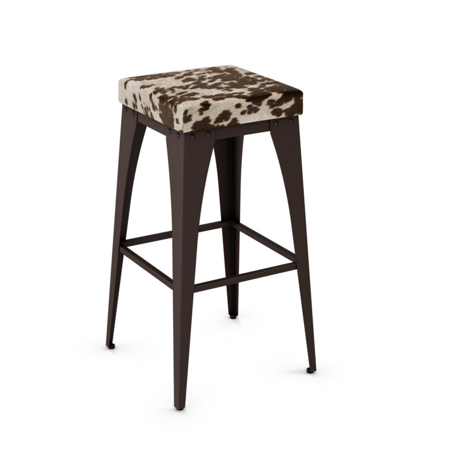 modern upright stool with metal frame and fabric seat