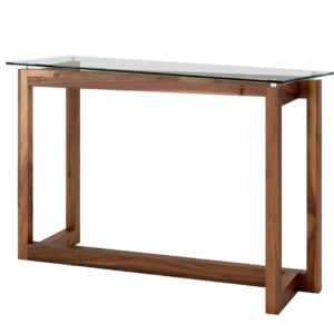 solid walnut wood zues console table with glass top