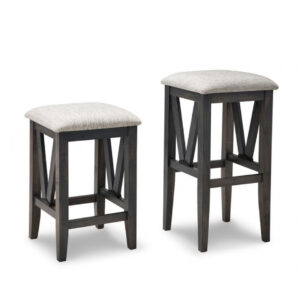 solid wood backless chattanooga stool with fabric seat