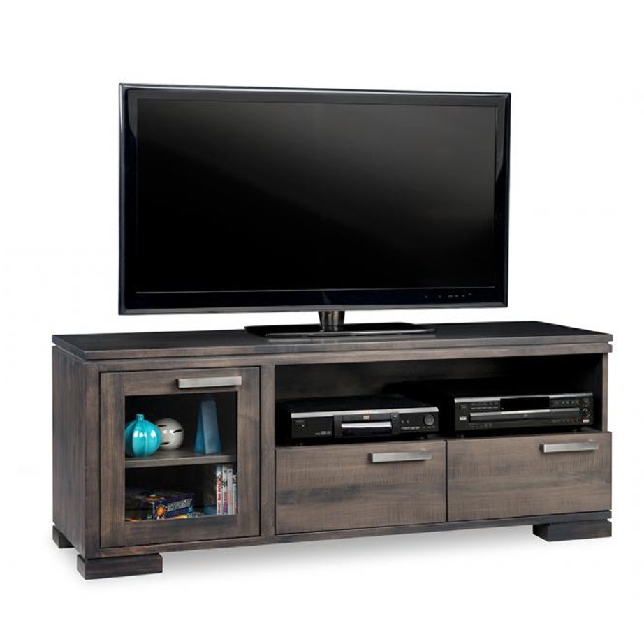 cordova 60 tv console, custom tv console, handstone, solid wood furniture, rustic wood furniture, maple, oak, made in canada, canadian made, customizable, contemporary, modern, urban