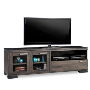 modern solid wood handstone cordova tv console with glass doors