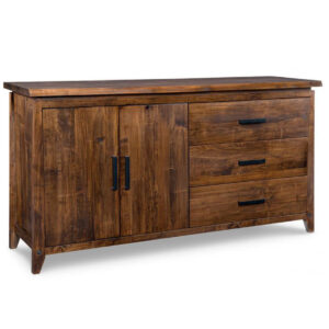 pemberton 2 door sideboard, solid wood, made in canada, handstone, rustic, modern, contemporary, storage cabinet, wood doors, metal accents, custom