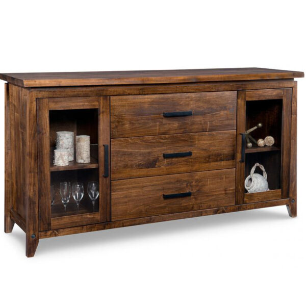 Pemberton Display Sideboard, solid wood, made in canada, handstone, rustic, modern, contemporary, storage cabinet, glass doors, metal accents, custom