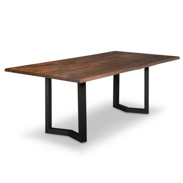 solid wood, custom table, dining table, metal base, live edge, handstone, contemporary table, modern, rustic, urban