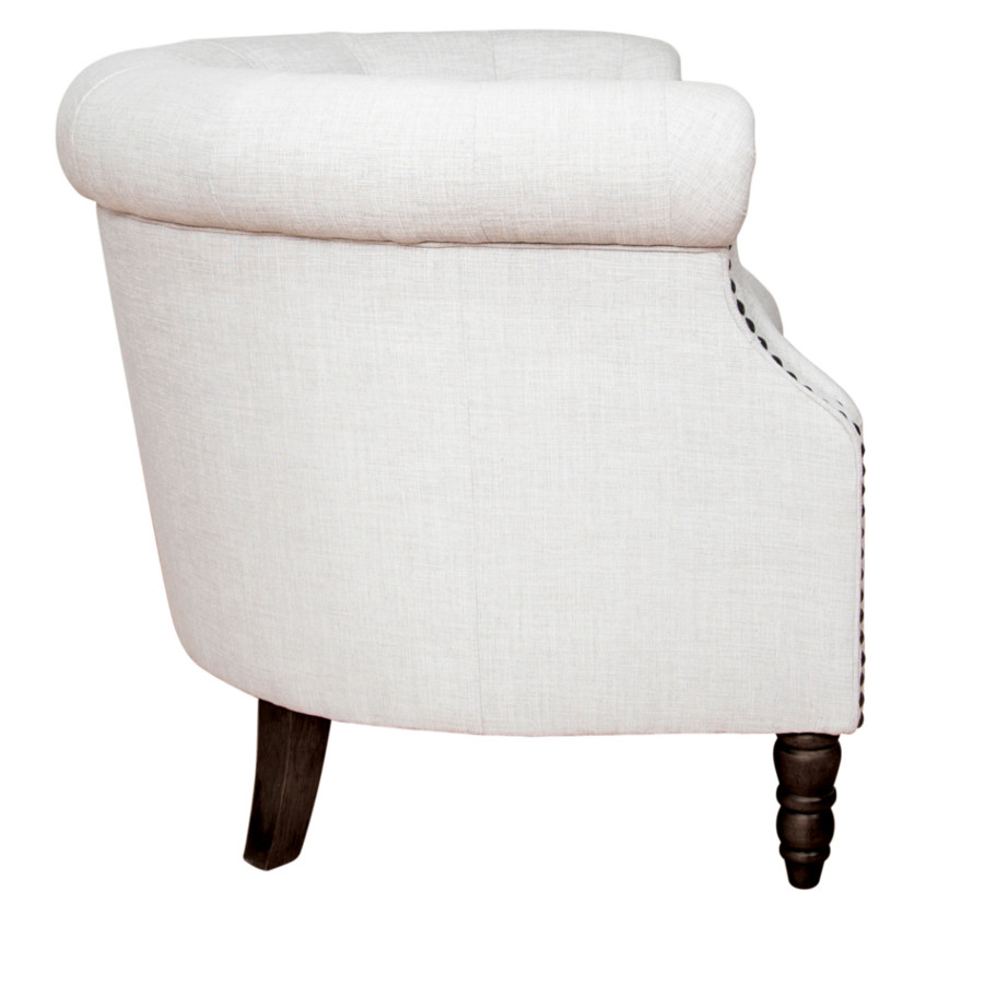 pippa chair, custom chair, van gogh designs, made in canada, canadian made, modern, contemporary, traditional, urban, club chair, studs, nail heads, studded arms, tufted, turned legs