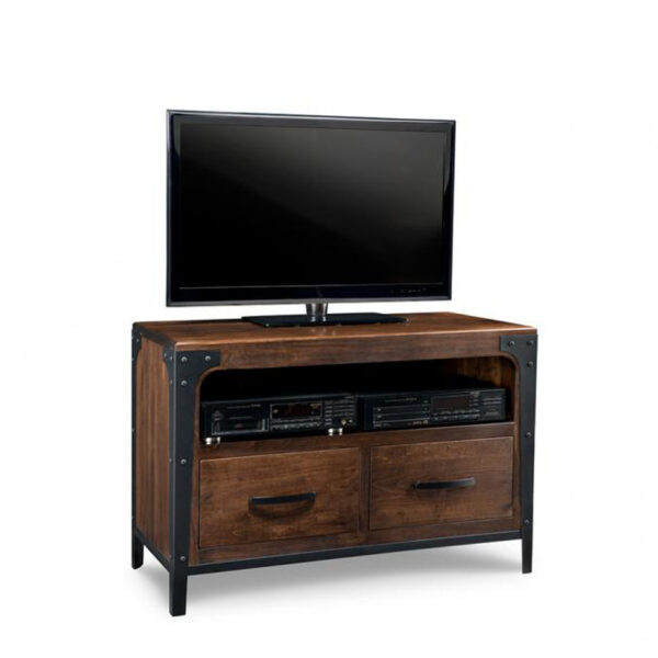 solid wood canadian made portland tv console with rustic finishing