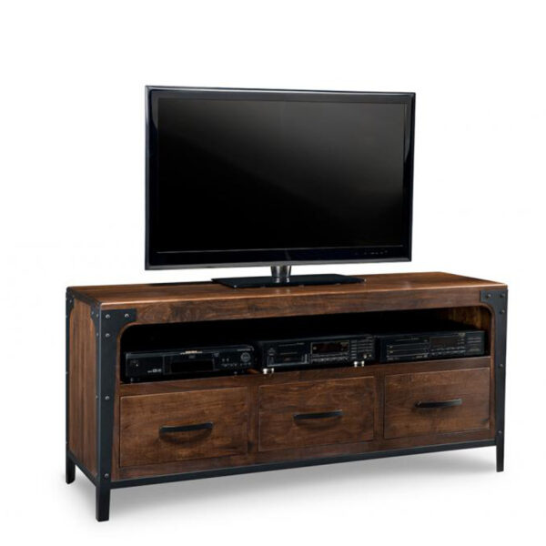 solid rustic wood portland tv console with 3 drawers