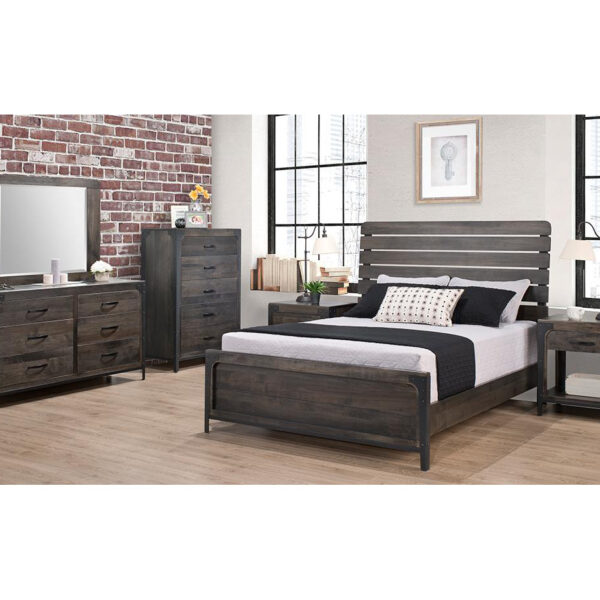 portland bedroom, handstone, solid wood, rustic wood, metal accents, modern, urban, contemporary, maple, rustic wood, dovetailed drawers, made in canada, canadian made, master bedroom