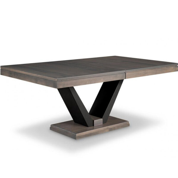 solid rustic wood canadian made portland dining table with metal base