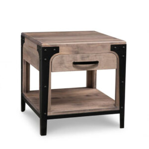 amish made in solid wood portland end table with drawer