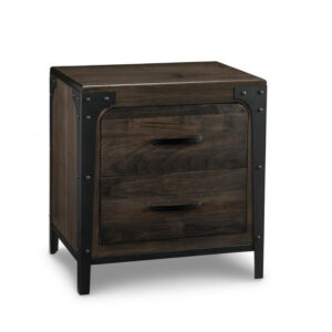 portland 2 drawer night stand, handstone, solid wood, rustic wood, metal accents, modern, urban, contemporary, maple, rustic wood, dovetailed drawers, made in canada, canadian made