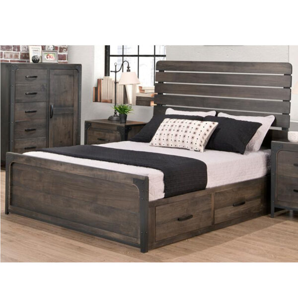 portland storage bed, handstone, solid wood, rustic wood, metal accents, modern, urban, contemporary, maple, rustic wood, queen bed, king bed, metal accents, storage bed, platform
