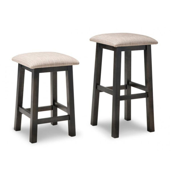 rafters backless stool, solid wood, made in canada, handstone, rustic, modern, contemporary, fabric seat, wood seat
