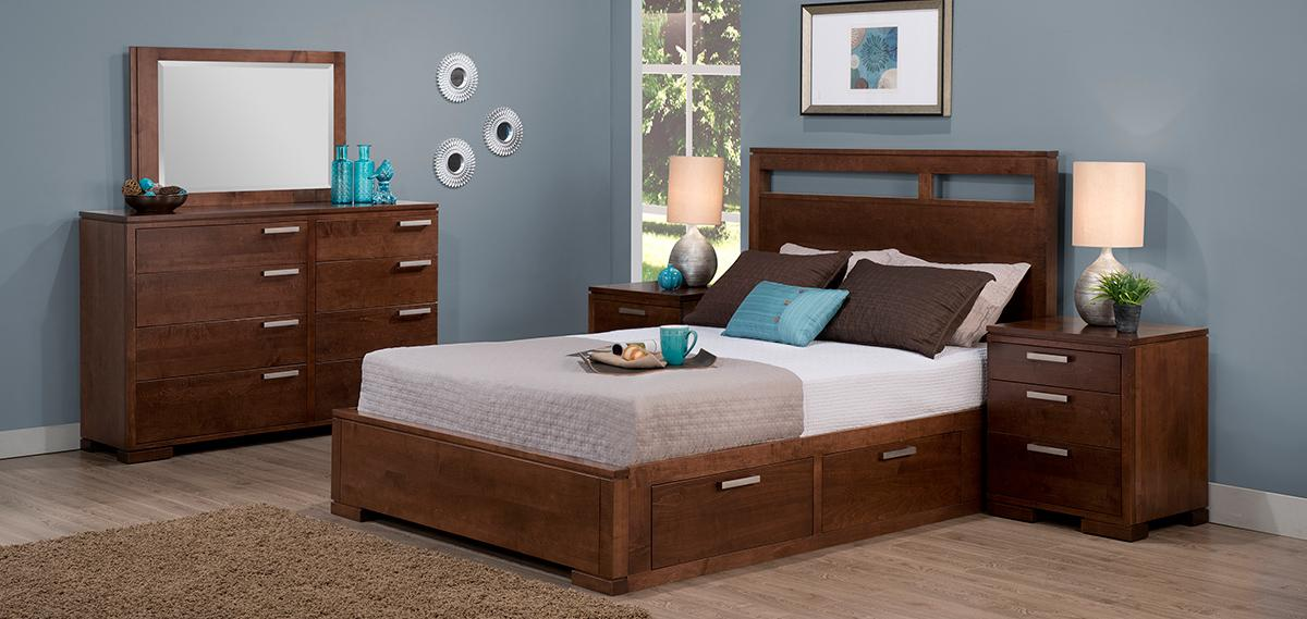 cordova bedroom, handstone, solid wood, rustic wood, modern, urban, contemporary, maple, cherry, oak, solid wood, made in canada, canadian made, master bedroom,