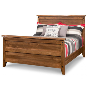 solid wood with live edge top pemberton bed with tall footboard