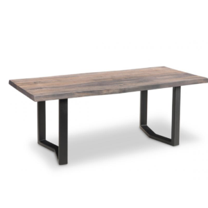 solid rustic wood pemberton live edge coffee table with metal base