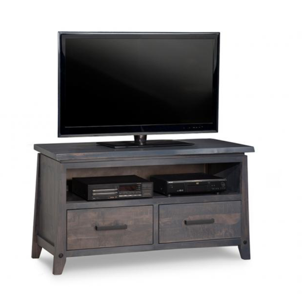 solid wood pemberton tv console in small size for condo spaces